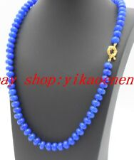 """New Natural 5x8mm Blue Sapphire Rondelle Gemstone Beads Necklace 18""""AAA"""