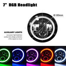 "7""CREE LED Headlight RGB Angel Eye Light Bluetooth App For Jeep Wrangler Control"