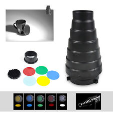 For Bowens Mount Strobe Flash Kit Metal Conical Snoot+Honeycomb Grid+Color Gel