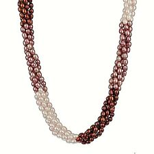 5 row Tri-Color Rice Pearl with Sterling Solver Clasp Necklace