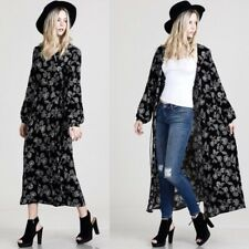 NWOT Boutique Black Floral Wrap Dress Kimono Long Duster LS Small
