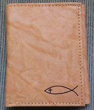 NEW Men's Christian Jesus Fish Cross Tan Brown GENUINE LEATHER TRI-FOLD Wallet