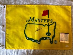 Jack Nicklaus signed Silk Pre 1997 Masters Pin flag Yellow golf PSA DNA COA