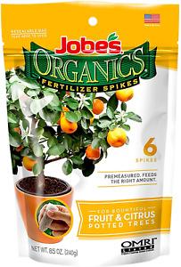 Jobes Organics Fruit & Citrus Fertilizer Spikes, 6 Spikes
