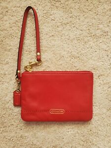 Coach Tearose Red Leather and Gold Wristlet Excellent Condition NWOT