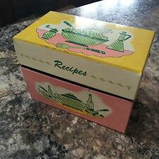 Vintage 50's Pink, Yellow, Green & White Ohio Art Metal Recipe Box,