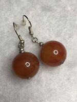 Faux Carnelian Hook Earrings Drop Dangle 1980s Vintage Jewellery Jewelry Retro