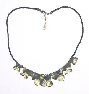 Beautiful MICHAEL MICHAUD Green Bronze CLOVER FLOWER Black Cord NECKLACE Signed