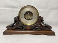 Victorian Brass Aneroid Barometer By Carpenter & Westley. Carved Oak Stand.