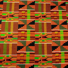 Stunning African Kente Print Cloth Wax Dyed Cotton Fabric Orange Green Black