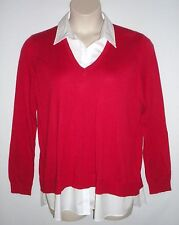NWT MSRP $99.50  LAUREN RALPH LAUREN Layered Look V-Neck Sweater, Red, PLUS 1X