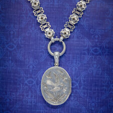 ANTIQUE VICTORIAN LOCKET COLLAR NECKLACE SILVER DOVE DATED 1881
