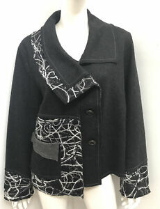 New! TAKING SHAPE ts black wool blend embroidered jacket  ~ plus sz S / 16