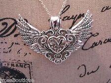 BIKER  ANGEL SCROLL EARRING biker HEART wings SILVER SET necklace pendant SCARF