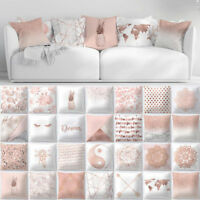 Pink Pillow Case Rose Gold Geometric Sofa Cushion Cover Floral Printed