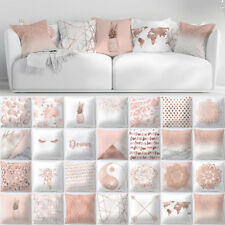 Rose Gold Cushion Covers Pink Theme Geometric Marble Pillow Case Car Home Decor