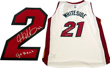 Hassan Whiteside Go Heat Autographed Miami Heat Swingman Jersey