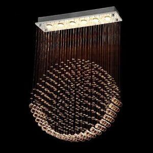 6 Light Rain Drop  Crystal Rectangle Chandelier/Flush Mount for Dining room