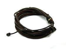 Black/Brown Braided Leather Bracelet for Men Women Cuff Wrap Wristband