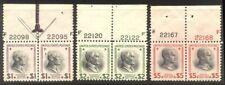 U.S. #832-34 Mint NHx Pairs - 1938 $1 - $5 Presidentials ($200)