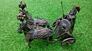 Handmade Rustic Metal Roman Centurion with Chariot and Horses