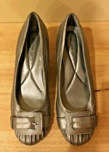 Andrew Geller Yumm Woman's Leather Slip On Wedge Shoes Sliver Size 8 M   sr1