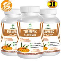 TURMERIC CURCUMIN 95% MAXIMUM Potency With Bioperine® 2000mg DAILY 180 Capsules
