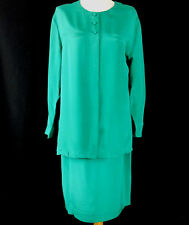 Talbots Dress 10 Skirt Suit Outfit Ladies Green Silk Long Sleeve