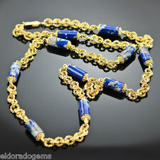 GEMSTONE NECKLACE - LAPIS STATIONS & SOLID 18K YELLOW GOLD CHAIN MADE IN ITALY