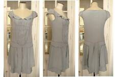 Stunning Pure Silk drop waist Miu Miu smokey duck egg blue dress size 10