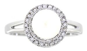 2.23 Carat 14K White Gold Real Halo Diamond Peral Ring Jewelry Anniversary Gift