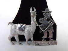 Peruvian Llama Sherpa Pin Alpaca Nickel Silver Vintage Peru Brooch
