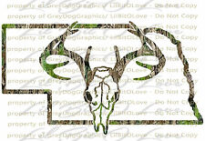 Camouflage Camo Nebraska Buck Skull Deer Hunting Vinyl Decal Hunt Sticker