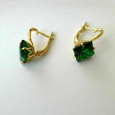 2.00 Ct Princess Cut Green Emerald Hoop Earrings 14k Yellow Gold Over Women's