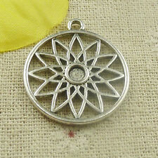 Free Ship 52 pieces tibetan silver round flower charms 29x27mm L-4832