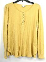 J Jill Womens Yellow Snap Scoop Neck Long Sleeve Cotton Split Hem Size Large