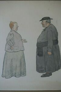 Pair 1907 French Watercolours. Village Gossip. Social History. Signed