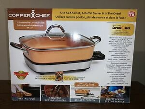 "Copper Chef 12"" Removable Electric Skillet - Use As Skillet, Buffet & In Oven!"