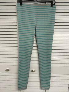 Under Armour Striped Grey & Teal fitted heat gear leggings M