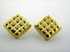18k Oro Amarillo Detallado Cuadrado de Clip Pendientes