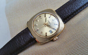 Vintage 70s retro Swiss Marvin mechanical watch,gold plated, NOS condition, runs