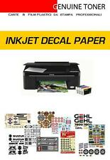 carta INKJET per decalcomanie (waterslide decal paper): 12 fogli A4