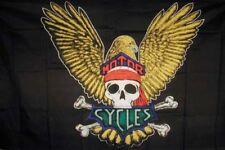 2 Eagle Wing Skull Flag Fl031 flags eagles motorcycles biker club flag banners