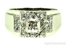 Mens Cluster Diamond 14K White Gold Ring