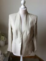 BNWT M&S Natural Beige Linen Mix Open Jacket Blazer Size 14 RRP£35 Business