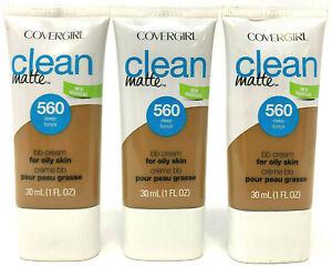 (3) Covergirl Clean Matte BB Cream For Oily Skin 1 fl oz 560 - Deep