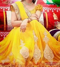 Bollywood Designer Party Wear Bridal Heavy Yellow Color Lehenga Saree