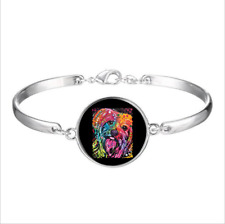 Fashion Glass Cabochon Tibet Silver Charm Bracelet Yorkie Yorkshire Terrier Dog