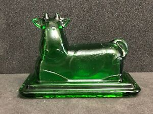 Butter Dish Cow Green Glass Moulded Vintage End Of 20th