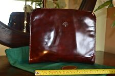 MULBERRY bag vintage ROGER SAUL burgundy oxblood patent leather clutch/ macbook